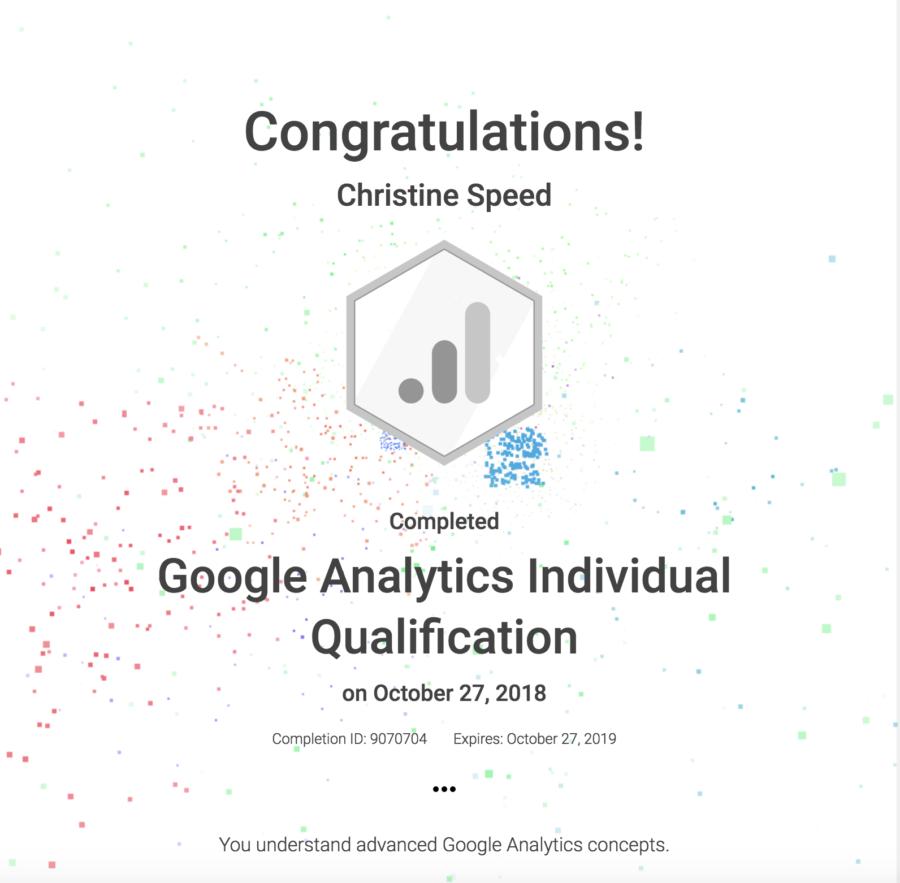 Google Analytics Certification Christine Speed